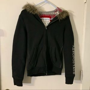 Aeropostale sweater lined hooded jacket sz M